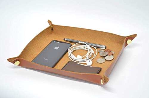 Handmade Leather Valet Tray - Choose From Chocolate Brown, Caramel Brown, Western Brown, or Black. Free Personalization Available.