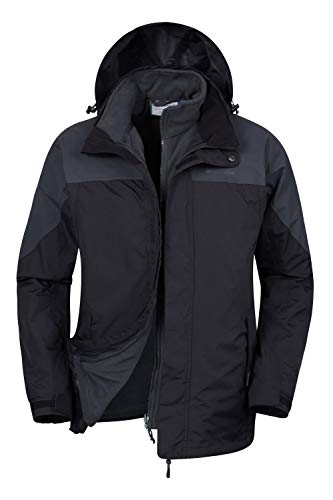 Mountain Warehouse Storm Wasserfeste 3 in 1 Herren Winterjacke, Warmer Fleecejacke, Regenjacke, Herrenjacke, Funktionsjacke, Allwetterjacke, Doppeljacke, Übergangsjacke, Winter Grau M
