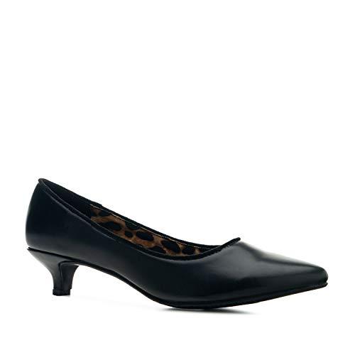Andrés Machado - Zapatos de Ante Muy Elegantes para Mujer Acabado en Punta Fina- AM5482 - Diferentes Estampado de Anima Print y tacón Kitten Heel - Negro, EU 43