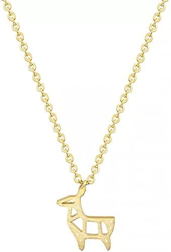 Collar de moda Collar colgante Acero inoxidable Color dorado Cadena Origami Ciervos Amistad Collar Mujeres Papel lindo Cabra Oveja Collar colgante Joyería para niños Fiesta de cumpleaños