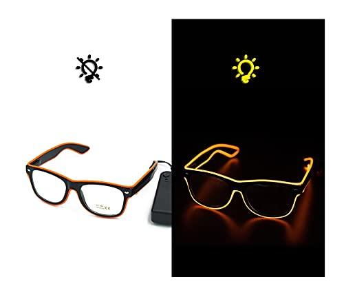 CHEdnh-Hk Filo El Occhiali a LED, Occhiali Flash del Partito al Neon, Bagliore di Linea El, Occhiali da Sole, scorte Luminose Adatto a Varie Occasioni di Festa (Color : Orange)