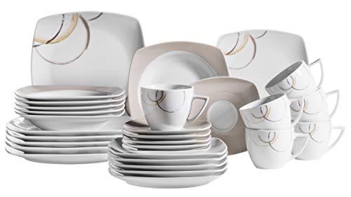 Mäser 931207 Serie Nela - Vajilla (30 piezas, porcelana), diseño estampado, color blanco y marrón
