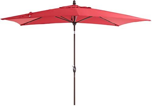 SORARA Parasol Jardin | Rouge | 300 x 200 cm (3 x 2 m) | Rectangulaire Porto Deluxe (Mât Bronzé) | Commande à Manivelle | (Excl. Base)