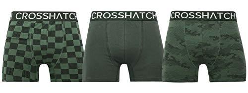 CrossHatch Herren Boxershorts Black Label Bresler, 3er-Pack, Grün, XXL