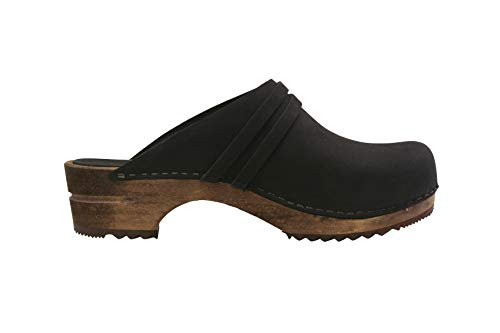 Sanita Ursana | Zuecos Abiertos | Producto Artesanal Original para Mujer | Zuecos de Piel con Suela de Madera | Negro | 41 EU