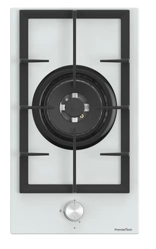 PremierTech Placa de cocción a gas, 1 fuego, 30 cm, cristal blanco, 1 quemador y 1 zona de parrillas de hierro fundido, PC301GW
