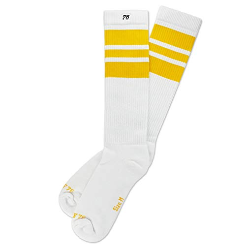 Spirit of 76 The sunny Sunnys | Retro Socken Weiß, Gelb gestreift | kniehoch | Unisex Strümpfe Size M (39-42)