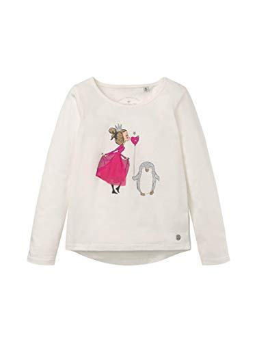 TOM TAILOR Mädchen T-Shirts/Tops Langarmshirt mit Print Cloud Dancer White,104/110,K1610,2000
