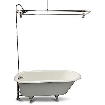 my plumbingstuff rx2300j jumbo clawfoot tub add a shower 60 d style shower rod with shower rings jumbo chrome bell showerhead b3100 ball valve
