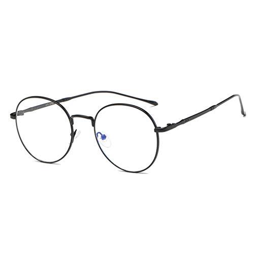 Montura Gafas de para Unisex Hombre y Mujer con Montura de Metal-acero Fino Retro Vintage Lente - Gafas Anti-luz Azul