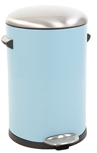 EKO Belle Deluxe Poubelle à Pédale Métal Bleu 31,9 x 28,3 x 41,2 cm 12 litres