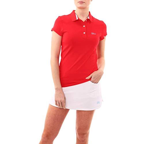 Sportkind Mädchen & Damen Tennis, Golf, Sport Poloshirt Kurzarm, UV-Schutz UPF 50+, atmungsaktiv, rot, Gr. 134