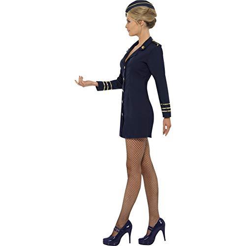 Smiffy's Flugbegleiterin Kostüm mit Kleid und Mütze, Marineblau, 40-42