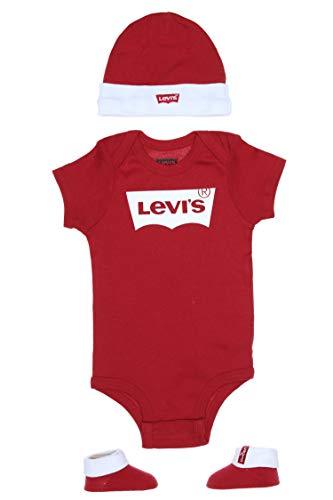 Levi's Kids CLASSIC BATWING INFANT HAT, BODYSUIT, BOOTIE SET 3PC 0019 Canastilla para bebés y niños pequeños Levi'S Red para Bebé-Niños