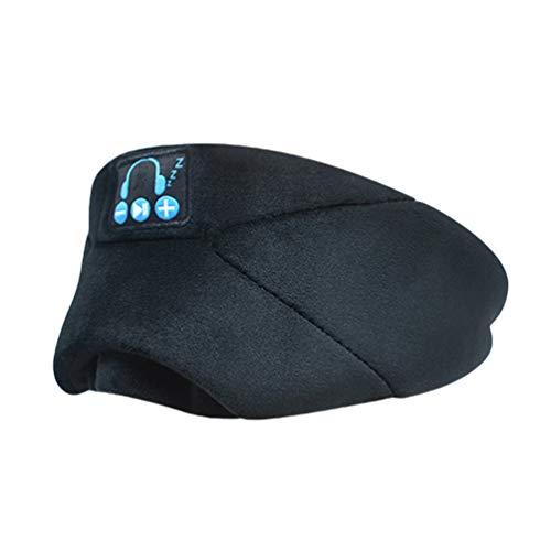Yuncai Bluetooth 5.0 Kopfhörer Waschbar Augenmasken Abdeckung Immersive Hören Sie Musik für Travel Siesta (Schwarz)