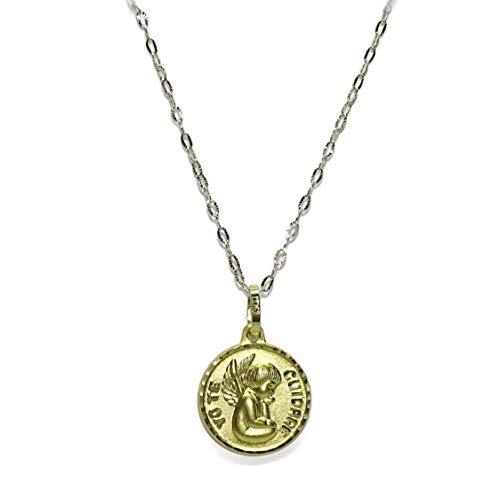 Never Say Never Medalla Angel de la Guarda Yo te cuidaré de Oro Amarillo de 18k con Cadena estriada de Oro Amarillo de 18k y 40cm de Larga