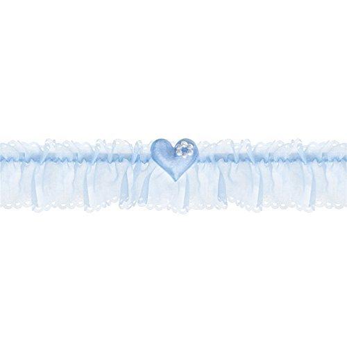 Braut-Strumpfband blau + Stoff-Herz und Perlen-Blume Hochzeit Strumpf Band. Von Haus der Herzen ®