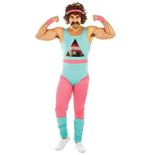 Fun Shack Blaues 80er Jahre Fitnesstrainer Kostüm für Herren, Retro Trainingsanzug, Lustiges Faschingskostüm - XL