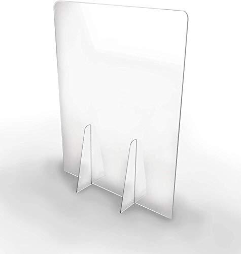 Mampara de metacrilato protectora low cost para mostrador con amplia ventanilla para mostrador ofician negocios farmacias (60X50)