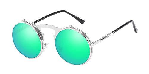 BOZEVON Gafas de sol Flip up Redondas - Metal Steampunk Retro Círculo Gafas para Hombre Mujere Plateado Verde
