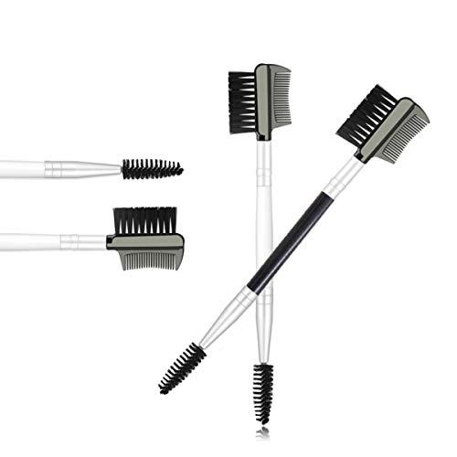 Doble Cara Cepillo Cejas,Xiuyer 2pcs 3 En 1 Reutilizable Suave Doble Cabeza Cepillo Cejas Pestañas Peine Para Mujeres Maquillaje Cosmético Herramienta