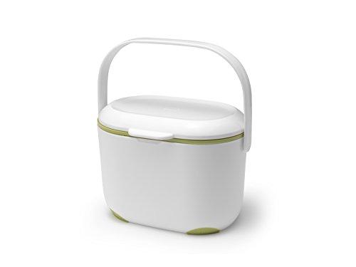 Addis Panier de Compost pour Cuisine 2,5l Blanc/Vert, Blanc/Vert, 2,5 l