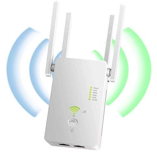 YingStar Repetidor WiFi Largo Alcance Amplificador Señal WiFi 1200Mbps Extensor Red WiFi 2.4GHz 5GHz Extender WiFi Inalámbrico 4 Antenas Externas Punto Acceso Repeater WiFi Booster Ap Enrutador WiFi