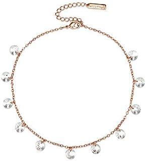 Mestige Women's Rose Gold Marina Anklet with Swarovski Crystals - MSAK3016