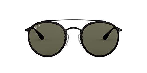 Ray-Ban RB3647N Double Bridge Round Sunglasses, Black/Polarized Green, 51 mm