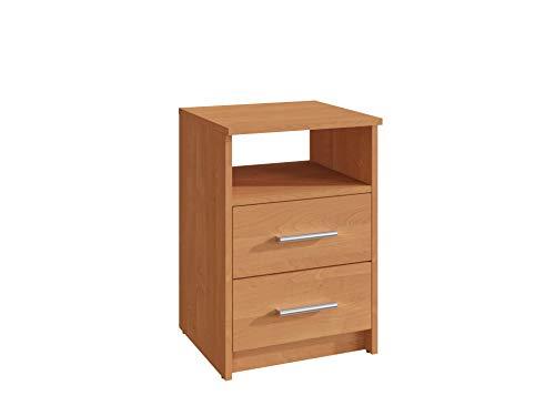 MATKAM Nachttisch in klassischer Optik | H/B/T 58,5 x 40 x 35 cm, mit Zwei Schubladen und einem offenen Ablagefach| In verschiedenen Ausführungen erhältlich (Erle)