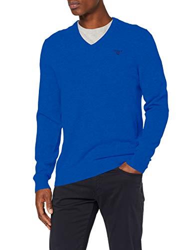 GANT MD. Extrafine Lambswool V-Neck Suéter pulóver, Azul Nautico, M para Hombre