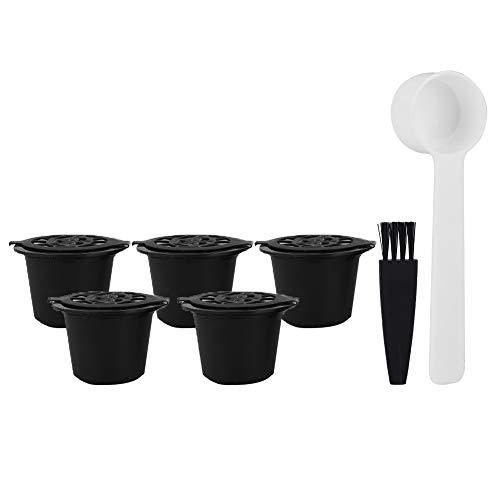 Rosilesi 5 pièces/Ensemble Capsules de café Rechargeables réutilisables dosettes Filtre Tasses passoire avec Brosse cuillère
