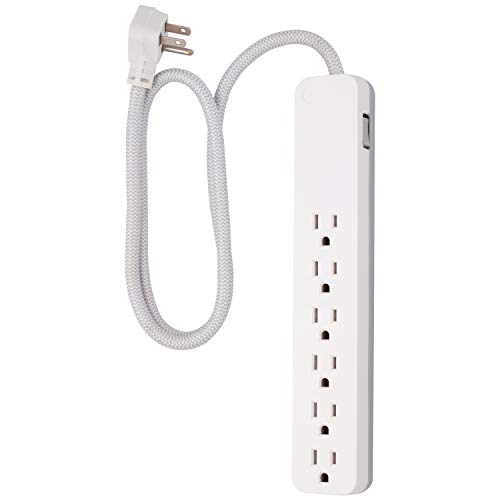GE UltraPro 6-Outlet Surge Protector, 3 Ft Designer Braided Extension Cord, 560 Joules, Flat Plug, Wall Mount, UL Listed, White, 41352