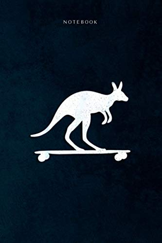 Lined Notebook Journal Kangaroo rides Longboard Cool Skateboard Australia Gift: Daily, Happy, To Do List, 6x9 inch, 120 Pages, Event, Life, Goal
