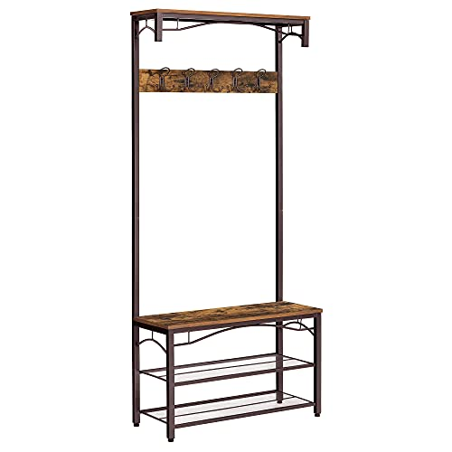 VASAGLE Industrial Coat Rack, 3-in-1 Hall Tree, Entryway Shoe Bench Coat Stand, Storage Shelves Accent Furniture Metal Frame Large Size