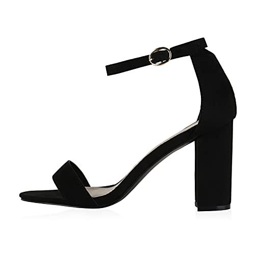 Giralin Damen Riemchensandaletten High Heels Sandaletten Basic Party Schuhe Wildleder-Optik Absatzschuhe Abendschuhe 610071 Schwarz 38