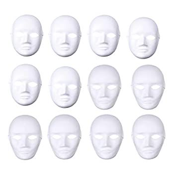OULII Full Face DIY Mask Halloween Blank Painting Mask Cosplay for Masquerade Halloween Party Favors  6pcs Male and 6pcs Female