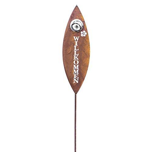 Gartenstecker Willkomen in Rostoptik Gartendeko Metall mit Verzierung Ausstanzung. Von Haus der Herzen®