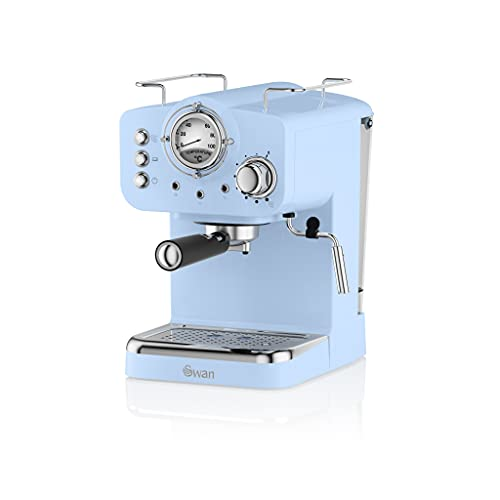 Swan Retro Pump Espresso Coffee Machine, Blue, 15 Bars of Pressure, Milk Frother, 1.2L Tank, SK22110BLN