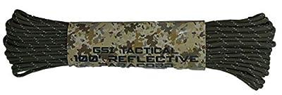 GSI Tactical Military Green Paracords 100 Feet, 500 LB | 7 Strand Core | 32 Strand Diamond Braid | Reflective | Military Style | Camping | Parachute Rope | Military Green