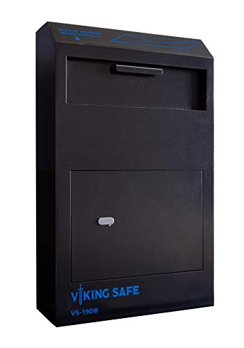 Viking Security Safe VS-19DB Large Wall Mount Depository Safe Drop Box Safe in Black Water-Resistant Coating and High Security Double Bitted Key