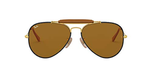 Ray-Ban Aviator Craft Gafas, Gold/Bluee Jeans, 58 Unisex Adulto