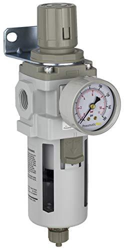 "PneumaticPlus SAW400-N04BG Compressed Air Filter Regulator Piggyback Combo 1/2"" NPT - Poly Bowl, Manual Drain, Bracket, Gauge"