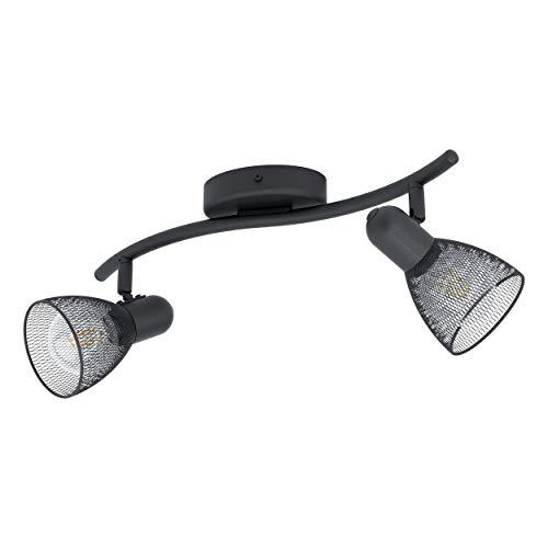 Preisvergleich Produktbild EGLO Deckenlampe Carovigno,  2 flammige Deckenleuchte Modern,  Klassisch,  Minimalismus,  Deckenstrahler aus Stahl,  Wohnzimmerlampe in schwarz,  Küchenlampe,  Spots mit E14 Fassung