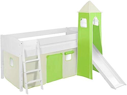 Lilokids Spielbett IDA 4106 Grün Beige - Teilbares Systemhochbett Weiß - mit Turm, Rutsche und Vorhang