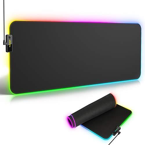 Tronsmart RGB Tappetino per Mouse Gaming Mouse Pad, Tappetino Mouse da Gioco, Illuminato Impermeabile con Cavo USB Rigido Tappeto Gaming Professionale Laser e Ottico