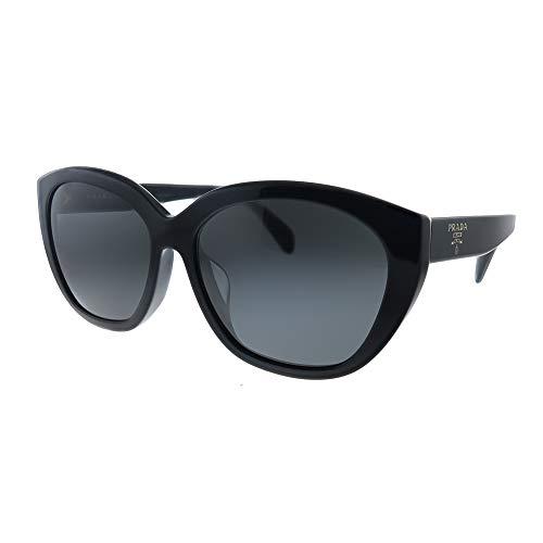 Prada PR 16XS 1AB5S0 Gafas de sol ovaladas de plástico negro lente gris