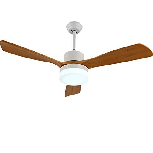 Ventilador de techo LED Stumm de diseño moderno, de metal, para salón, con mando a distancia, luz de 42 y 52 pulgadas, hoja de madera (color: blanco, tamaño: 52 pulgadas)