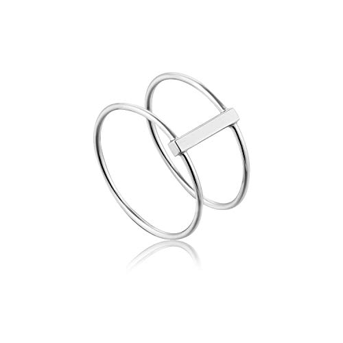 ANIA HAIE 925 Sterling Silver Double Ring Thin Bar Trendy Stackable Boho Ring for Women & Gift, Size 50 / L