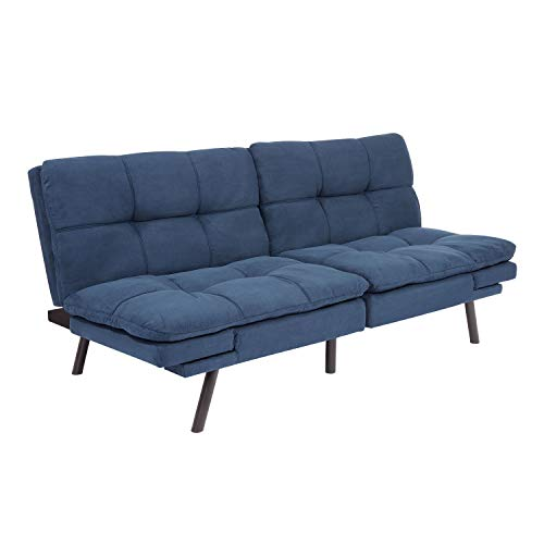 Mainstay' Wooden Frame Memory Foam Split seat and Back Futon with Christmas Bundle, Blue Suede